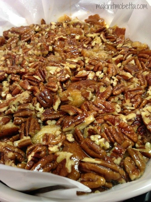 pecan pie bread pudding - before